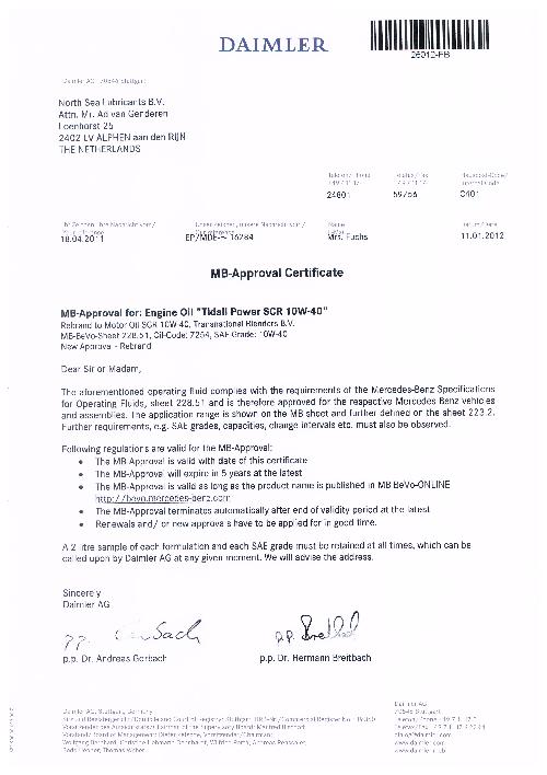 Моторное масло для Mercedes TIDAL POWER SCR 10W40 MB
